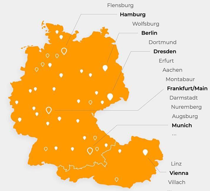 Key cities within GSA market include: Hamburg, Berlin, Dresden, Frankfurt, Munich & Vienna